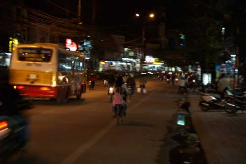 Nighttime on Cau Giay Street, Hanoi, Vietnam