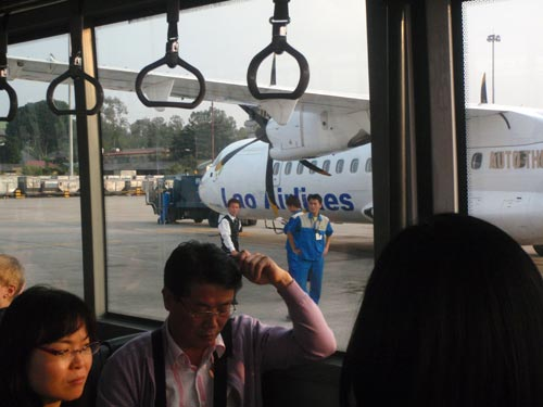 On the bus to our Laos Airlines plane