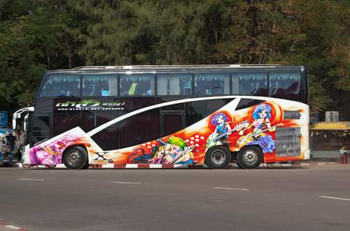Thai tour bus, Pha That Luang, Vientiane, Laos