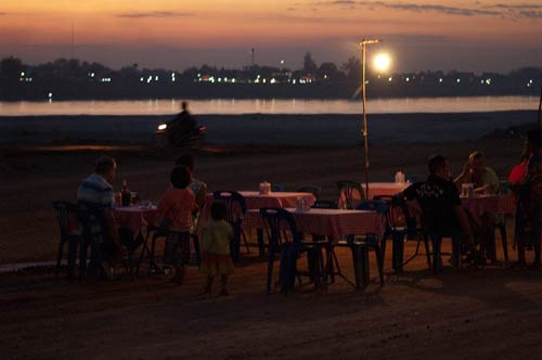 dining along the Mekong River, Vientiane, Laos