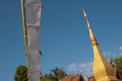temple and banner, Luang Prabang, Laos