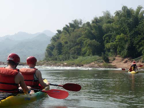 approaching rapids on Nam Pa River, Laos