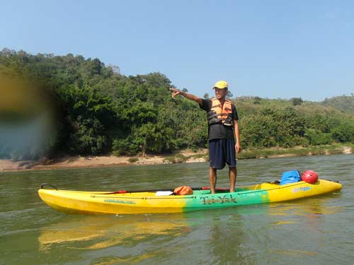 Green Discoveries kayaking guide on Nam Pa River, Laos