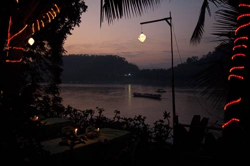 evening view of Mekong River, Luang Prabang, Laos