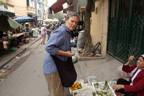 Sue shopping in a Cau Giay market, Hanoi, Vietnam