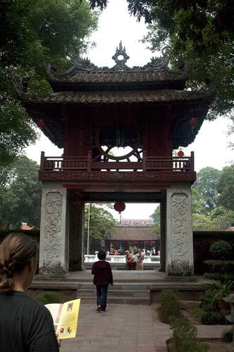 gate at Temple of Literature, Hanoi, Vietnam