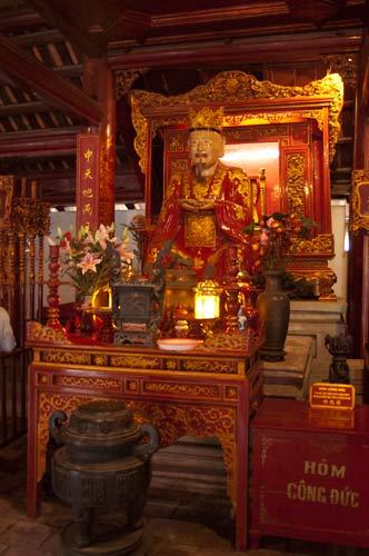 altar with statue of Confucius, Temple of Literature, Hanoi, Vietnam