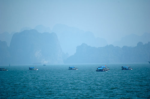 Ha Long Bay, Vietnam, fishing fleet