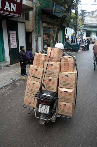 motorbike loaded with boxes