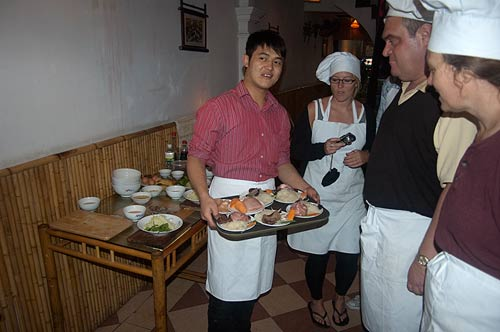 cooking lesson at Blue Butterfly Restaurant, Hanoi, Vietnam