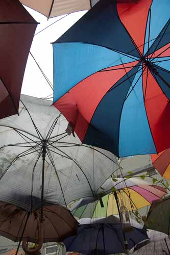 Cafe Nola rooftop umbrellas, Hanoi, Vietnam