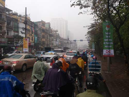Kim Ma street in the rain, Hanoi, Vietnam