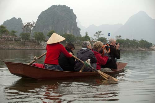 boat on the Day River, going to the Perfume Pagoda