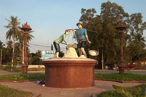 statue of salt workers, Kampot, Cambodia