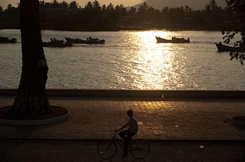 fishing fleet on Kampot River, Cambodia
