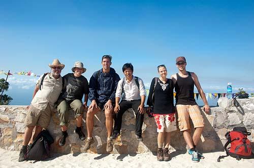 group photo, pagoda, Bokor Hill Station, Cambodia