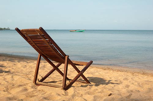 lounge chair, beach, Rabbit Island, Cambodia