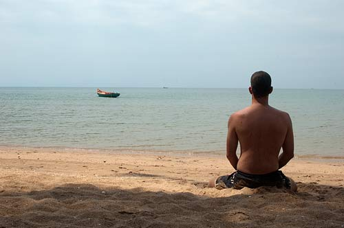 meditating, Rabbit Island, Cambodia