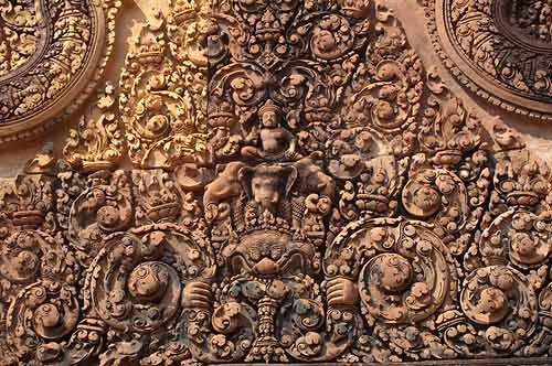 close-up of relief carving, Banteay Srei, Angkor, Cambodia