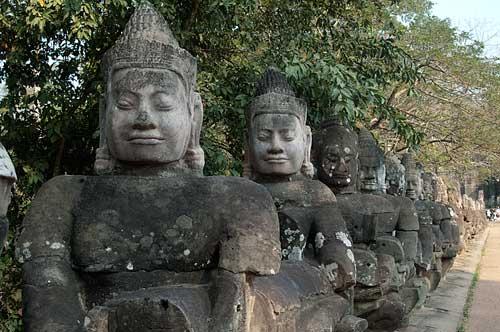 Angkor Thom, south gate gods, Angkor, Cambodia
