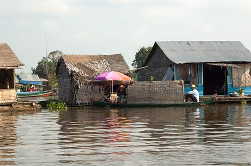 float homes at mouth of Sankger River, Cambodia