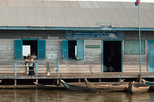 floating school, Sangker River, Cambodia