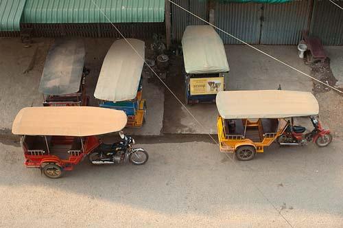 tuk tuks, Royal Hotel, Battenbang, Cambodia
