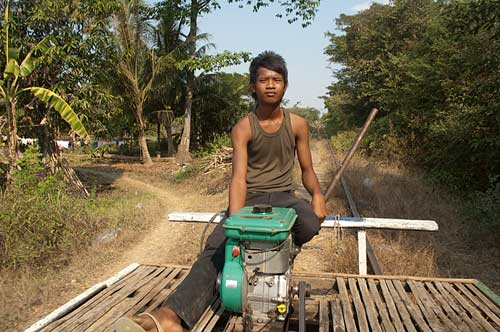 driver, bamboo railway, Battambang, Cambodia