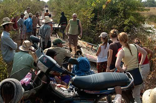 dismounting, bamboo railway, Battambang, Cambodia
