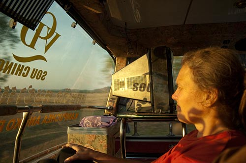 on the bus to Sihanoukville, Cambodia