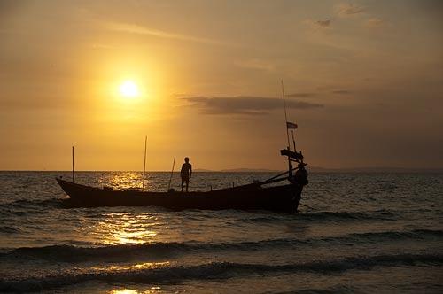 sunset on Occheuteal Beach, Sihanoukville, Cambodia