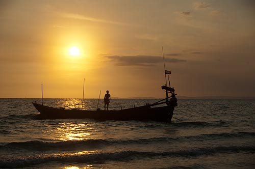sunset on Occheuteal Beach, Sihanoukville, Cambodia