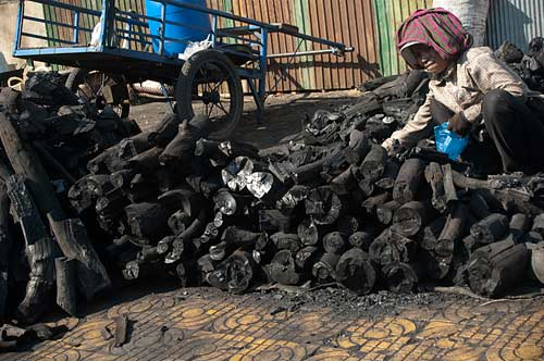 charcoal for sale, Phnom Penh, Cambodia
