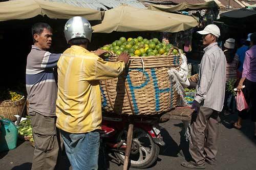 basket of limes, market, Phnom Penh, Cambodia