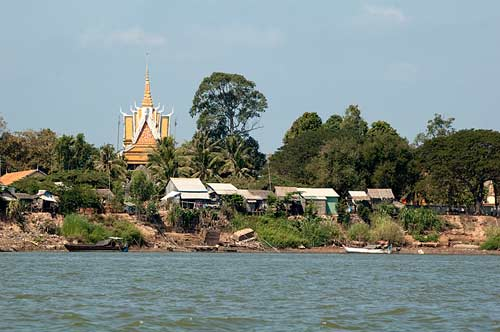 village on the Mekong River, Cambodia
