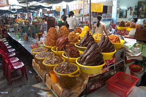 food stalls, market, Chau Doc, Vietnam