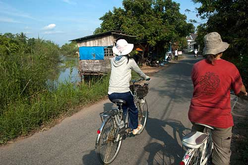 bicycling, An Binh Island, Vietnam