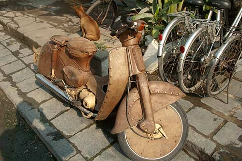 leather-covered motorbike, Hoi An, Vietnam