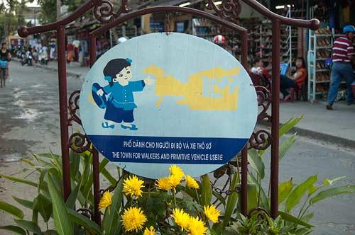 no vehicles sign, Hoi An, Vietnam