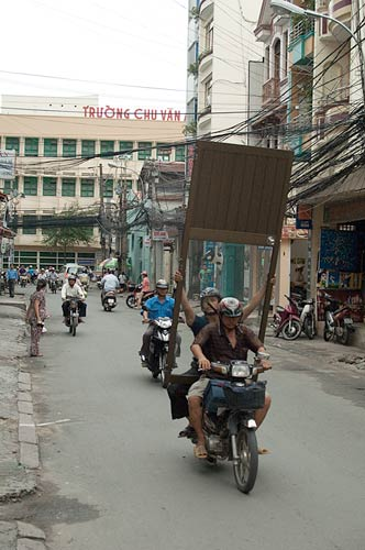 Motorcycle with a high load, Vietnam
