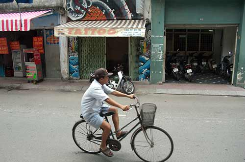 bicycle on Ho Chi Minh City street, Vietnam