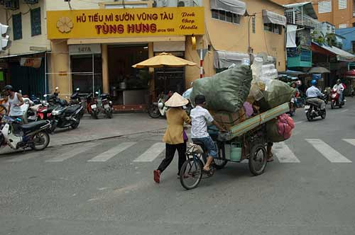 fully loaded bicycle cart, Saigon, Vietnam