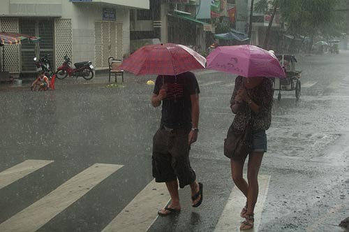 torrential downpour, Saigon, Vietnam