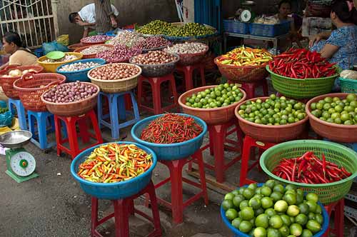colourful produce in street market, Saigon, Vietnam