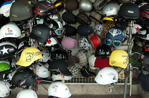 motorcycle helmets for sale, Saigon, Vietnam