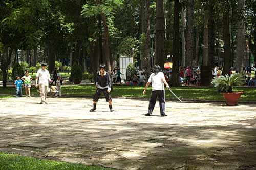 sword practise in Tao Dan Park, Saigon