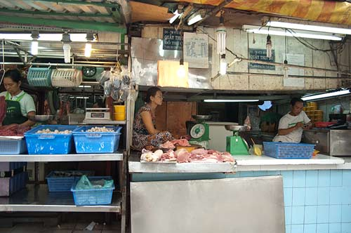 meat stall at street market, Saigon, Vietnam