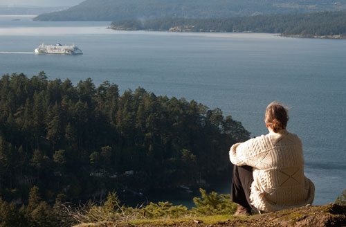 view from Pender Island towards Salt Spring Island, Gulf Islands, BC