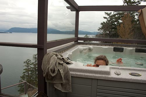 in the hot tub at Sahali Serenity, Pender Island, BC