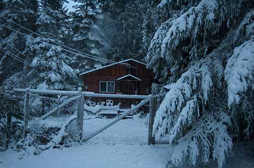 house in snow, Pender Island, BC
